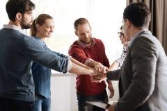 Équipe de cinq collègues tenant des mains ensemble Image libre de droits