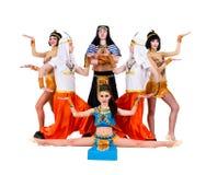 Danseurs habillés dans la pose égyptienne de costumes Photographie stock