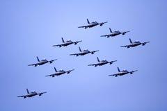 Équipe de dix aéronefs acrobatiques aériens Photos libres de droits