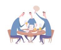 Équipe de jeu-concours donnant la réponse Questionnez la nuit dans la barre, événement de baliverne avec trois joueurs s'asseyant illustration libre de droits