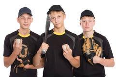 Équipe de jeunes joueurs dans le base-ball Images libres de droits
