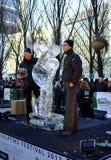 Équipe de la Belgique au festival de sculpture en glace de Londres Photos libres de droits