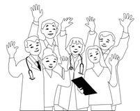 Équipe de médecins saluant la caméra illustration libre de droits