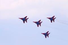 Équipe de quatre avions de combat de MIG 29 Photographie stock libre de droits