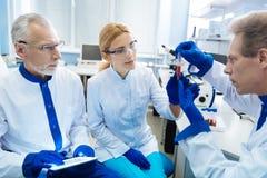 Équipe de scientifiques faisant la recherche de sang image libre de droits