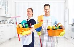 Équipe de service de ménage photos libres de droits