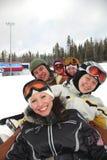 équipe de snowboard de ski Photographie stock libre de droits