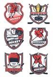 Équipe de sport de hockey sur glace, icônes de vecteur illustration de vecteur