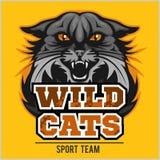 Équipe de sport sauvage de chats - logotype, emblème illustration stock