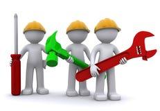 Équipe de travailleur de la construction avec le matériel illustration de vecteur