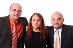 Équipe de trois d'isolement sur le petit morceau Photos libres de droits