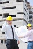 Équipe des architectes sur le site de construciton Photographie stock