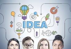 Équipe diverse d'affaires pensant, chef, idée Images libres de droits