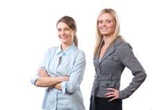 Équipe féminine d'affaires d'isolement sur le blanc image libre de droits