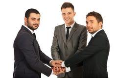 Équipe heureuse unie des hommes d'affaires Images libres de droits