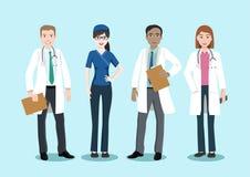 Équipe médicale et personnel, personnage de dessin animé d'illustration de vecteur illustration stock