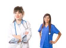 Équipe médicale féminine d'isolement sur le blanc images libres de droits