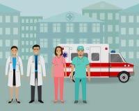 Équipe médicale Groupe de médecins et d'infirmières se tenant ensemble sur un fond de voiture et de clinique d'ambulance illustration de vecteur