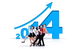 Équipe réussie d'affaires avec la nouvelle année 2014 Images stock