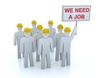 Équipe sans emploi : Nous avons besoin d'un travail Photo stock