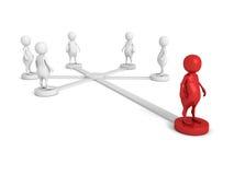 Équipe sociale de réseau ou d'affaires avec le chef différent rouge Photos stock
