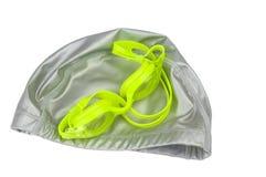 Équipement aquatique naviguant au schnorchel de plongée de natation sur le fond blanc Images stock