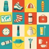 Équipement coloré de touriste de vecteur d'autocollant plat Images libres de droits