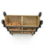 Équipement commercial en vente de pain Front View Sur le blanc 3D illustration, chemin de coupure Photos stock