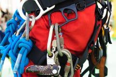 Équipement d'accès de corde pour l'inspecteur photo libre de droits