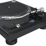 Équipement d'aiguille de vinyle du DJ de plaque tournante, vue étroite Photographie stock libre de droits