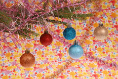 Équipement d'arbre de Noël, jouets de Noël Photos stock