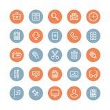 Équipement de bureau et icônes plates d'objets Photo stock