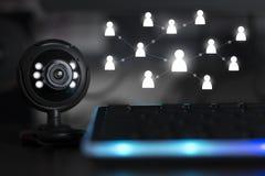 Équipement de caméra web de conférence téléphonique de Webinar photo stock