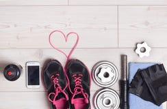 Équipement de coeur et de sport Photo stock