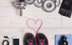 Équipement de coeur et de sport Photographie stock
