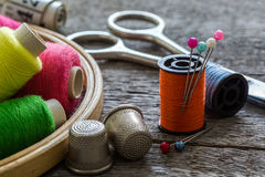 Équipement de couture, outils Photographie stock
