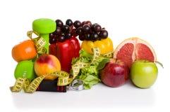 Équipement de forme physique et nourriture saine Image libre de droits