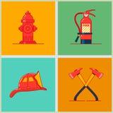 Équipement de lutte contre l'incendie et icônes réglées de profession de sapeurs-pompiers Pictogramme linéaire mince de protectio illustration libre de droits
