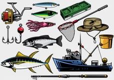 Équipement de pêche dans l'ensemble illustration stock
