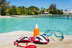 Équipement de plongée sur la plage Images libres de droits