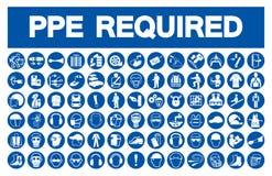Équipement de protection personnel requis et x28 ; PPE& x29 ; Symbole, icône de sécurité, illustration de vecteur illustration stock