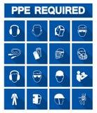 Équipement de protection personnel requis ( ; PPE) ; Symbole, icône de sécurité, llustration de vecteur illustration de vecteur
