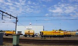 Équipement de Strukton, une société pour la construction de chemin de fer et entretien Photos libres de droits