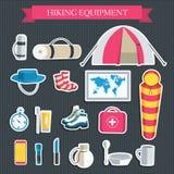 Équipement de touristes de vecteur coloré plat infographic Conception de l'avant-projet de fond d'icônes illustration de vecteur