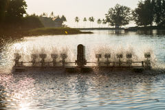 Équipement de traitement de l'eau, turbines de l'eau avec les palettes en plastique Photo libre de droits