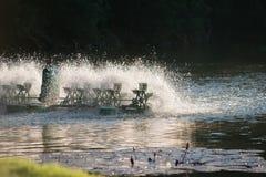 Équipement de traitement de l'eau, turbines de l'eau avec les palettes en plastique Images libres de droits