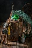 Équipement de vintage pour pêcher avec la canne à pêche et les attraits Photo stock