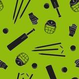 Équipement et accessoires pour le cricket Casque noir de silhouettes, batte, guichet, modèle sans couture de vecteur de boule illustration de vecteur
