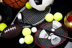 Équipement et boules de sport Photos stock