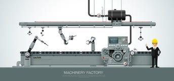 Équipement industriel d'implantation industrielle de machine machinant le VE illustration stock